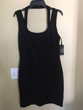 NEW GUESS Black cutout shoulder bodycon stretch dress Size 12 $98 Nordies CUTE!!