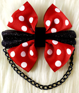 Red & White Polka Dot Black Glitter Bow Hair Clip Rockabilly Goth Hair Accessory