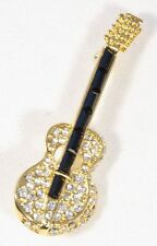 Brooch Acoustic Guitar Clear & Black Crystals Musical Gift Present Pin Badge