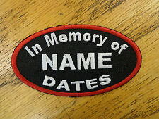Custom Embroidered Patch Oval In Memory of Biker Club Vest Patch Memorial RIP
