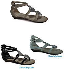 Scarpe da donna sandali con strass e zeppe bianco beige 36 37 38  39 cinturino