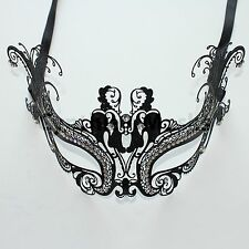 Black Metal Laser Cut Filigree Peacock Mask Masquerade w/ Rhinestones Party Prom
