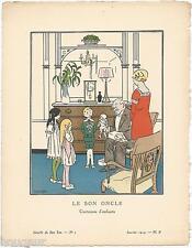 CARLEGLE Pochoir Art Déco ORIGINAL N°1 pl. 2 Janvier 1914 GAZETTE DU BON TON