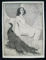 Beautiful Raphael Drouart (France 1884-1972) Etching, Woman with Peacock