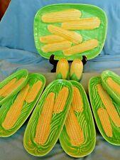 Vtg Corn On The Cob Set~Japan dishes ~platter, salt & pepper, 6 corn cradles