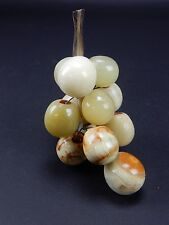Chinese Alabaster and Jade grape bunch.  5 inches