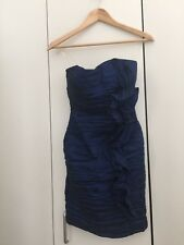 Strapless Ruffle Layer Stretch Tube Cocktail Wedding Prom Dress Blue Size Small