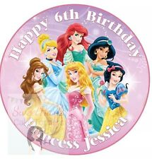 DISNEY PRINCESS CAKE TOPPER PERSONALISED EDIBLE ICING ROUND 7.5 INCHES BELLE