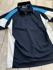 Mens Cutter And Buck Dry Tec Polo Short Sleeve Shirt Size XL 1/4 Zip EUC Navy