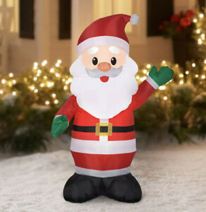 """4"""" Christmas Inflatable Santa Clause Outdoor Lighted Decoration Yard Sculpture"""