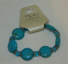 Azul Turquesa Abalorios Cristal Pulsera Elástica