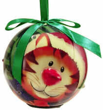 Christmas Ornament Holiday Blinking Ball Shatterproof XMas Kitty Cat Hangs NEW