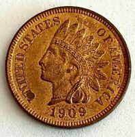 1909- UNCIRCULATED GEM-RED INDIAN HEAD PENNY, PLEASE SEE OTHER COINS