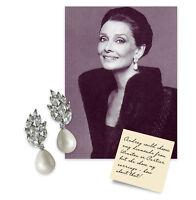 Kenneth Jay Lane Audrey Hepburn Pearl w/Crystal Clip-on Pierced NEW!