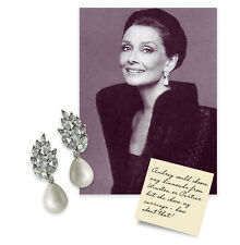 Kenneth Jay Lane Audrey Hepburn Pearl w/Crystal Clip-on Earring NEW!