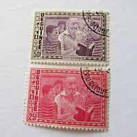 Eleanor Roosevelt Postage Stamps Republique De Guinee 1962 Reading to Children