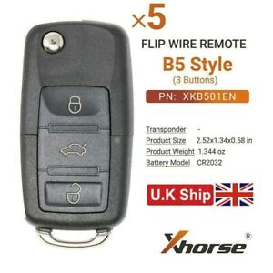 5x XHORSE Wired Universal Remote Key B5 Type 3 Buttons XKB501EN for VVDI2/MAX