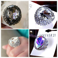 Goth vintage punk style large and chunky crystal stretch ring multiple choices
