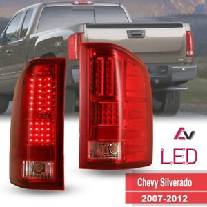 07-12 For Chevy Silverado 1500 2500 3501  LED Tail Lights Red Lens Rear Lamps
