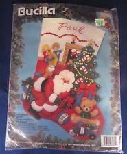 "Bucilla ""Christmas Gifts"" Santa Felt Appliqué Christmas Stocking Kit - Unopened"