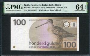 Netherlands 1977, 100 Gulden, P97, PMG 64 EPQ UNC