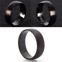 Hombres negro titanio anillo de acero 8mm boda compromiso grupo