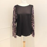 DRIES VAN NOTEN Black Fine Wool Leopard Print Contrast Sleeves Top Size 40/12UK