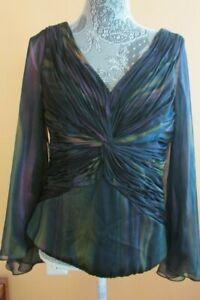 EUC Cachet Women's Sz 12 Top Cocktail Evening dress Sheer slit long sleeve