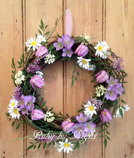 Spring Floral Door Wreath Fritillaria Daisy Mixed Flower Purple Decoration