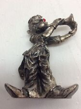 Pewter Clown Figurine Hobo Clown With Bright Red Nose Playing Trumpet Music T9