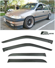 EOS Visors For 88-91 Honda Civic Wagon JDM SMOKE TINTED Side Window Rain Guards