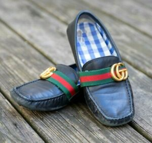 GUCCI BOYS BLACK LOAFER DRIVER RED GREEN RIBBON GG GOLD LOGO SIZE 34