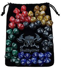 D10 DICE SET-5 Complete Sets, Perfect for WOD or Math Dice Games - Counters