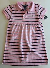Ralph Lauren Girls Dress Short Sleeve Casual Striped Pink Size 5  NWT