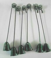 6 Vintage Bell Weighted Christmas Tree Candle Holders wit