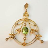 Vintage - Antique 9ct Gold Peridot & Pearl Pendant