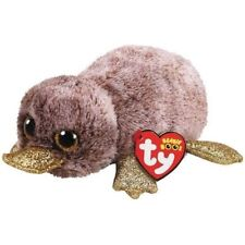 """2018 Ty Beanie Boos 6"""" PERRY Brown Platypus Stuffed Animal Plush Ty Heart Tags"""