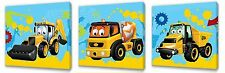 My First JCB II  Kids canvas wall art plaque pictures set of three