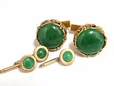 14kt Mens Jade Cuff links Shirt Studs 5 Pcs Set