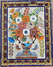 #18 Mexican Talavera Mosaic Mural Tile Handmade Flowers Folk Art Backsplash