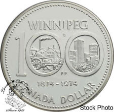 Canada 1974 $1 Winnipeg Centennial Silver Dollar Coin in Capsule Only