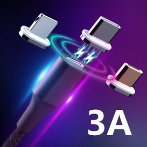 Magnetic USB Charging Cables 3A Type C Super Quick For iPhone X XR XS 8 7 6 Plus