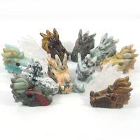 Hand Carved Dragon Head Natural Gemstone Jasper Agate Fluorite Quartz Crystal