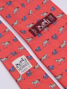 HERMES Paris Red Whimsical Toy Pony Rocking Horse Running Silk Men's Necktie