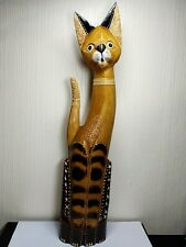 Cat 60cm Wooden Cat Ornament Fairtrade Handmade Sexy shabby cat