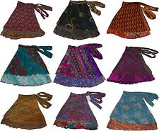 "5 Pcs Bohemian-Style Wrap Around Mini Skirt In Multiple Colorful Prints 20"""