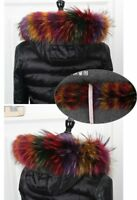 """Top quality Real Colorful Fox Fur Collar Hood Trimming Scarf 70*14cm 28X6"""" US"""