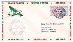 HONG KONG CHINA-SG#126,#124-HONG KONG AIR MAIL 29/AP/37-TRANSPACIFIC