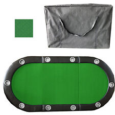 "Green 84"" 10 Player Tri-Fold Folding Poker Table Top Speed Cloth & Carrying Case"