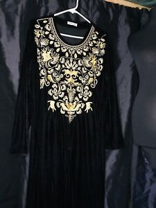 Velvet Maxi Large Size Black With Golden Embriodery
